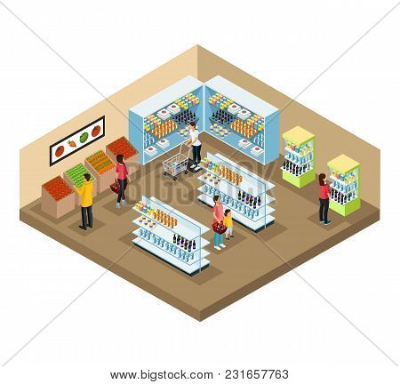 Isometric Supermarket Interior Concept With People Choosing Different Products In Grocery Shop Vecto