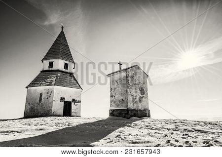 Calvary In Nitra, Slovak Republic. Winter Snowy Scenery. Religious Architecture. Black And White Pho