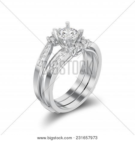 3d Illustration Isolated White Gold Or Silver Two Shanks Decorative Diamond Ring With Shadow On A Wh