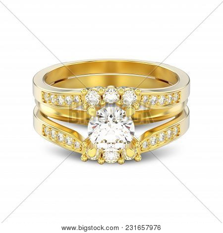3d Illustration Isolated Yellow Gold Two Shanks Decorative Diamond Ring With Shadow On A White Backg