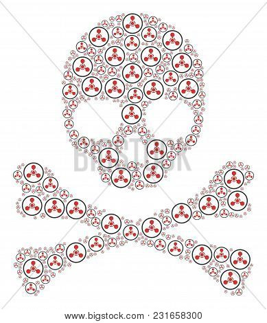 Skull Concept Organized Of Wmd Nerve Agent Chemical Warfare Pictograms. Vector Wmd Nerve Agent Chemi
