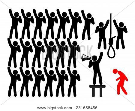 Racist Mob Violence. The Lynching On An Individual By Racial Mob Of People Who Take The Law Into The