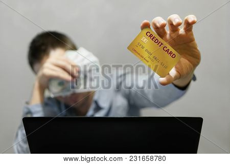 Shopping Online Concept, Businessman Shopping Online With Computer Laptop And Credit Card. Buying Go