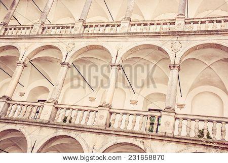 Close Up Photo Of Gothic Castle Of Jindrichuv Hradec, Czech Republic. Architectural Scene. Travel De