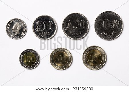 Ecuadorian Coins - Sucre On A White Background
