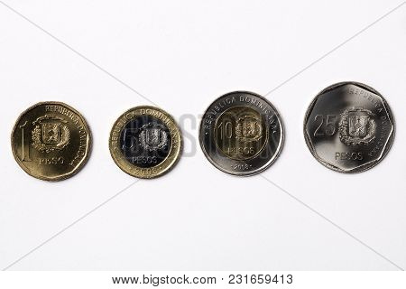 Dominican Coins - Peso On A White Background