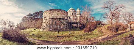 Famous Esztergom Basilica, Esztergom, Hungary. Panoramic Scene. Travel Destination. Red Photo Filter
