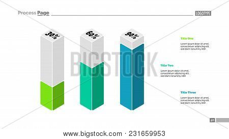 Three 3d Column Graph Presentation. Percentage Chart, Bar Diagram, Slide Template. Creative Concept