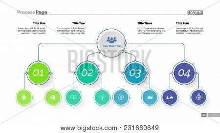 Tree Chart With Four Options. Organizational Chart, Business Hierarchy Diagram. Creative Concept For