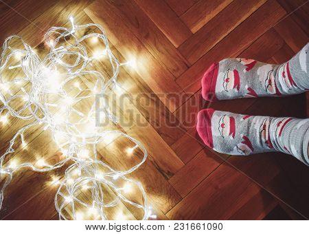Christmas Socks With Light. Cute Little Christmas Socks