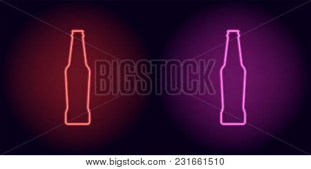 Red And Pink Neon Beer Bottle. Vector Silhouette Of Neon Bottle Consisting Of Outline, With Backligh