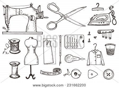 Set Of Sewing Tools And Materials Or Elements For Needlework. Handmade Equipment. Tailor Shop For La