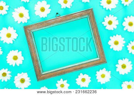 Spring Floral Frame On  Blue Cyan Background With White Daisies Texture All Around - Fresh Flowers C