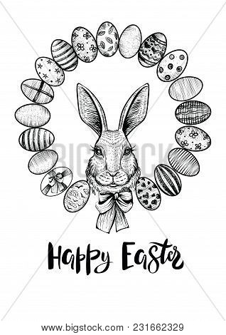 Easter Wreath With Eggs And Head Of A Hare With Bow. Happy Easter Modern Calligraphy. Black And Whit