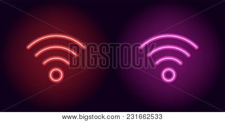Red And Pink Neon Wi-fi Sign. Vector Silhouette Of Neon Wi-fi Zone Consisting Of Outlines, With Back