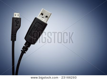 Two USB cable on blue background