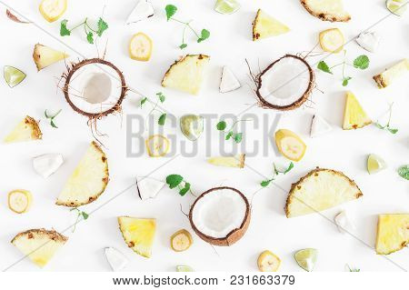Fruit Background. Pineapples And Coconuts Pattern On White Background. Summer Fruits. Flat Lay, Top
