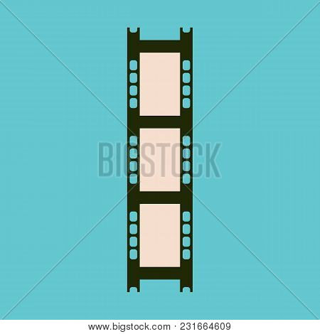 Camera Film On A Blue Background. Old Film Black And White Footage. Flat Style. Vector Illustration.