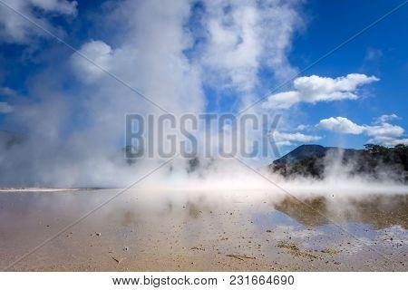 Steaming Lake In Waiotapu Geothermal Area, Rotorua, New Zealand