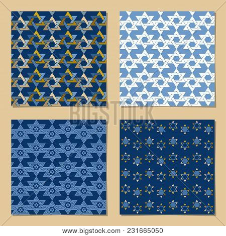 Set Of Universal Backgrounds With Star Of David. Template. Vector Illustration