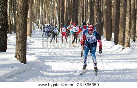 Kazan, Russia - March, 2018: Ski Marathon In Sunny Frozen Forest, Winter Sports And Competition Conc