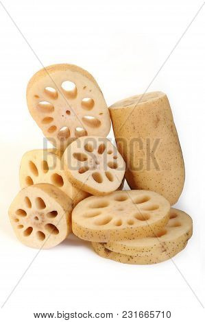 Lotus Root Vegetable At On White Background