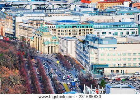 Cityscape With Unter Den Linden Street And Brandenburg Gate In The Center Of Berlin, Germany