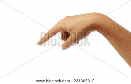 Feale Hand Pointing Finger Isolated On White Background, Clipping Path.
