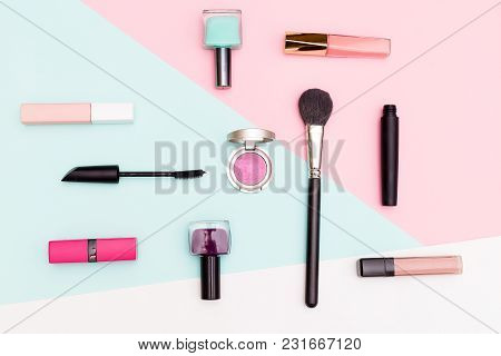 Set Of Professional Decorative Cosmetic. Flat Lay Composition