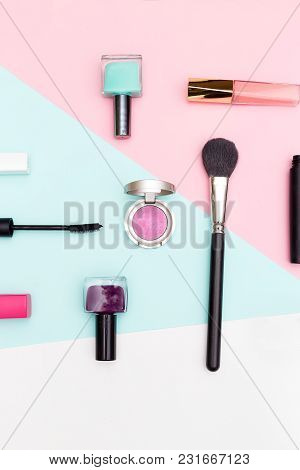 Set Of Professional Decorative Cosmetic. Vertical Photo