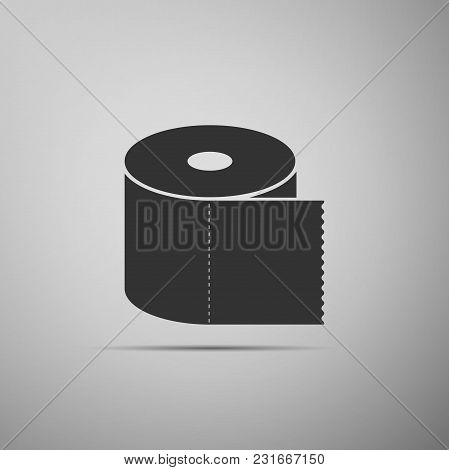 Toilet Paper Roll Icon Isolated On Grey Background. Flat Design. Vector Illustration