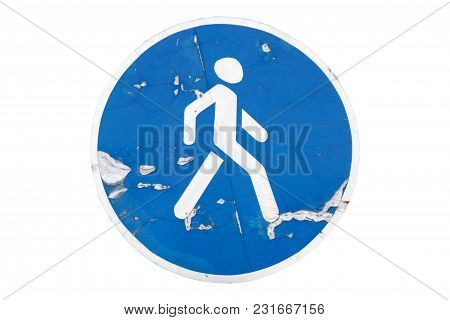 'pedestrians Only' Road Sign Isolated On White