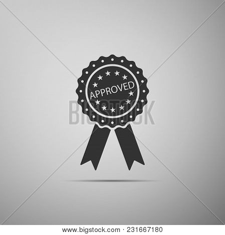 Approved Or Certified Medal Badge With Ribbons Icon Isolated On Grey Background. Approved Seal Stamp