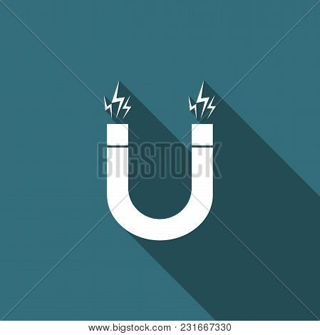 Magnet Icon Isolated With Long Shadow. Horseshoe Magnet, Magnetism, Magnetize, Attraction. Flat Desi