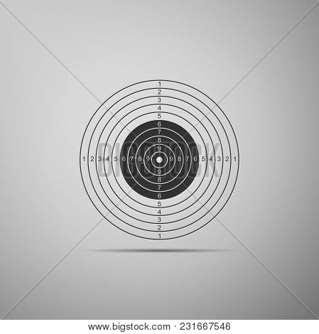 Target Sport For Shooting Competition Icon Isolated On Grey Background. Clean Target With Numbers Fo