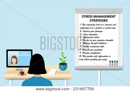 Woman Is Educating In Stress Management Strategies By A Woman Communicating With Her From A Pc Stand