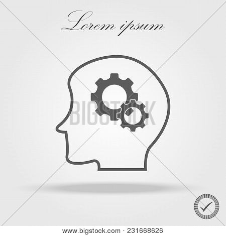 People Profile With Gear Vector Icon. Education And Creativity Symbol. Thinking Concept In Flat Styl