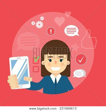 Smiling Cartoon Girl Holding Smartphone On Red Background With Communication Icons, Vector Illustrat