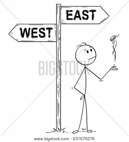 Cartoon Stick Man Drawing Conceptual Illustration Of Politician Or Businessman Making Decision By To