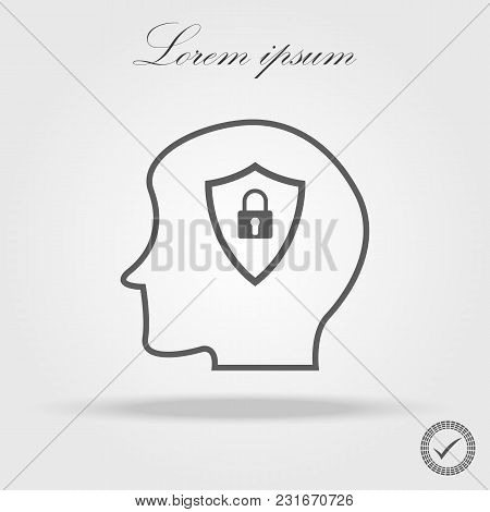 Head Line Icon And Lock Icon In Trendy Flat Style Isolated On Grey Background. Security Symbol For Y