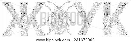 Word Beetle In Russian And The Silhouette Of An Insect Zentangle Styled With Clean Lines For Colorin