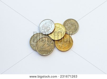 Russian Mounts Ten, Two And Five Rubles On A White Background