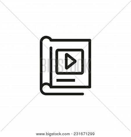 Book And Play Button Line Icon. Video Lesson, Ebook, Guidance. Education Concept. Can Be Used For To