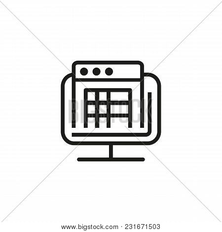 Electronic Receipt On Screen Line Icon. Financial Document, Invoice, Landing, Screen. Finance And Ac