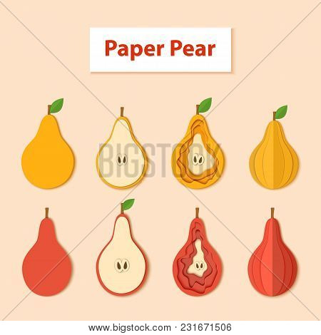 Set Of Aper Cut Pear. Vector Illustration. Paper Art Style Apple. Origami Concept. Vector Yellow And