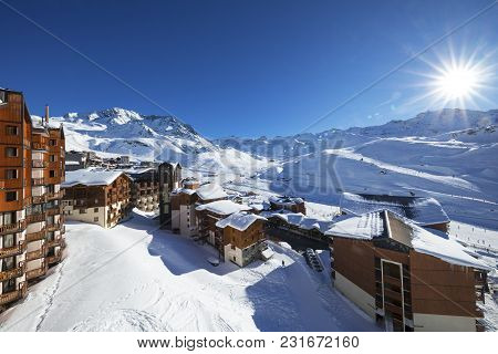 Panorama Of Val Thorens, Alps Mountains, France