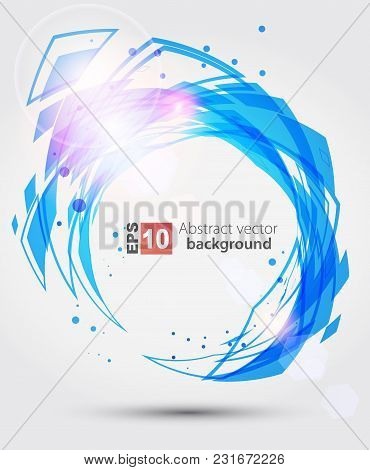 Abstract Blue Complex Circle Background. Vector Illustration