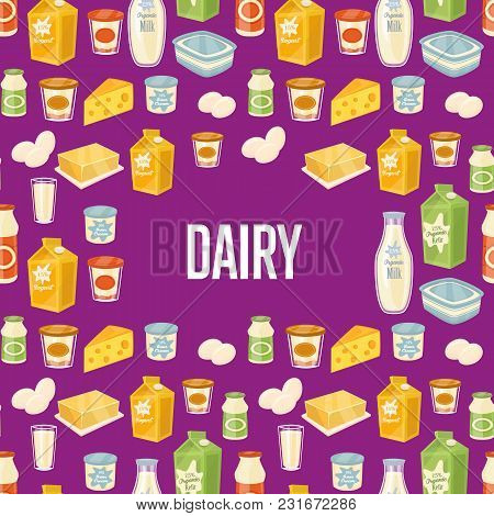 Dairy Seamless Pattern With Different Dairy Icons On Perpl Background, Vector Illustration. Healthy