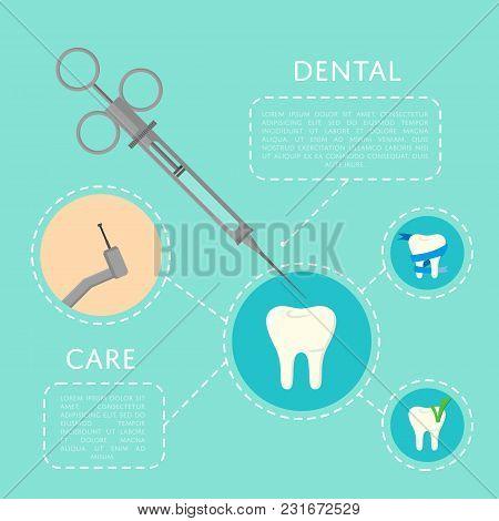 Dental Care Banner With Medical Instruments And Teeth Symbols. Dentistry Vector Illustration. Dental