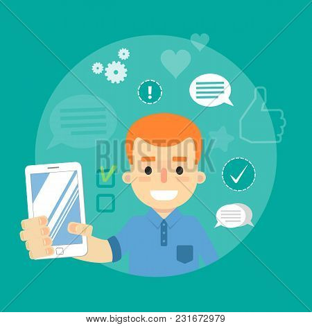 Smiling Cartoon Boy Holding Smartphone On Green Background With Communication Icons, Vector Illustra